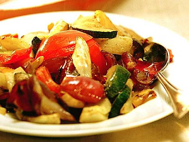 Grillade grönsaker med tabil
