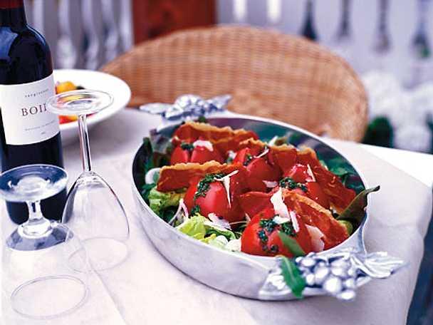Grillade tomater med parmachips