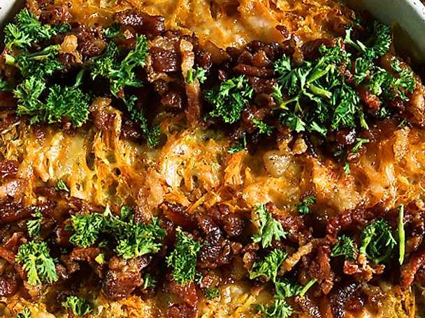 Grön gratäng med bacon