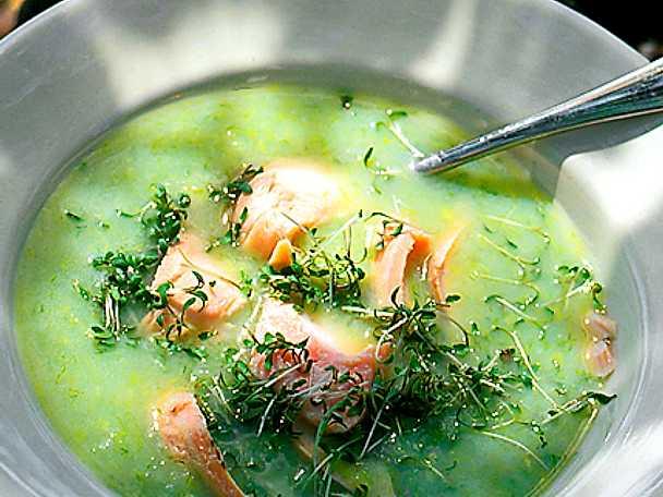 Grön soppa med lax