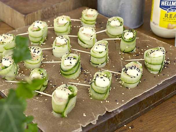 Gurk- och laxsnittar med wasabimajonnäs