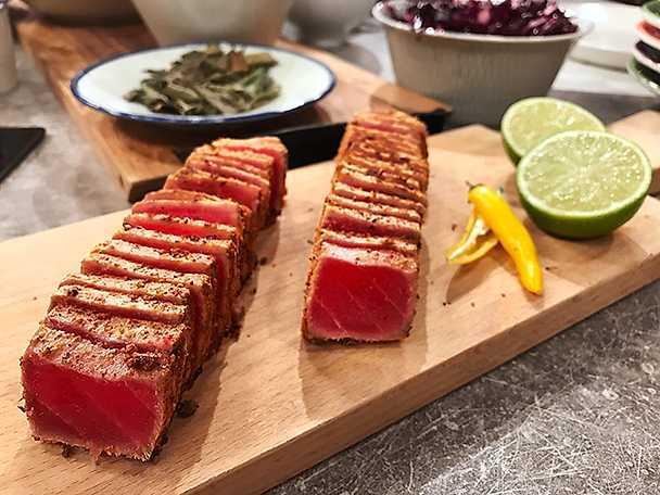 Halstrad tonfisk med koriander