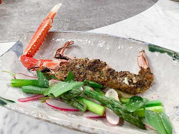 Havskräfta med ramslök och grönt currysmör