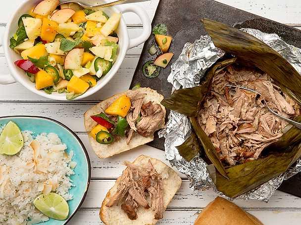 Hawaiianskt långgrillad karré med mango- och ananassalsa och kokosris