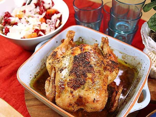 Helrostad kyckling med rosésallad