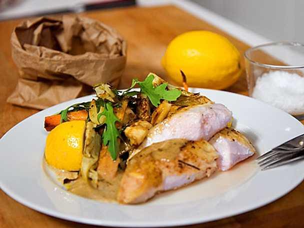 Helstekt kyckling med citronsås