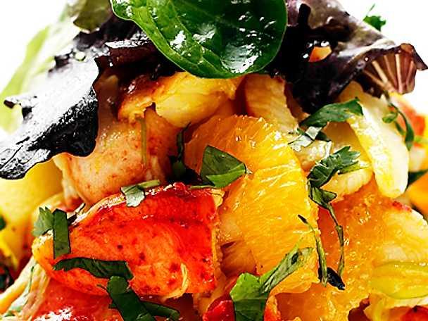 Hummersallad med apelsin och curry