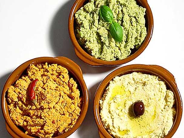 Hummus med tre smaker