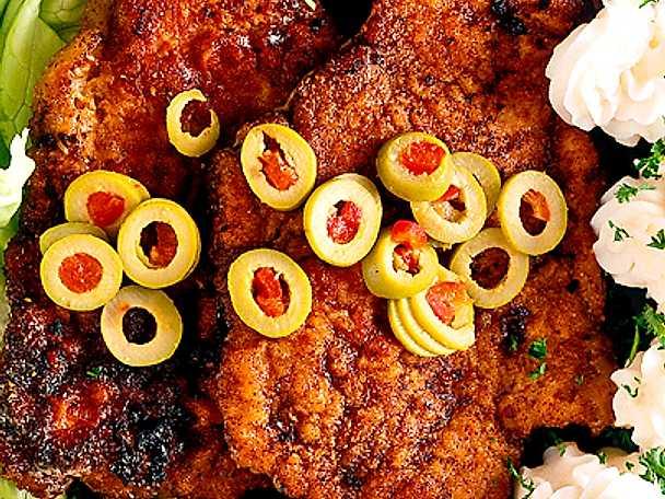 Ingefärsschnitzel med oliver