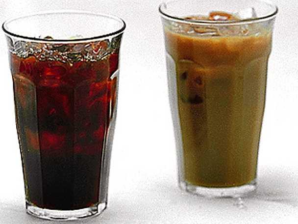Iskaffe och is-café au lait