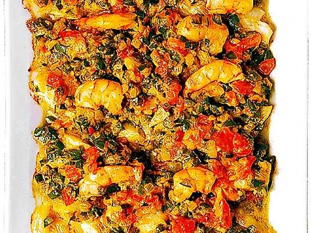 Jätteräkor och fisk med grönsaker