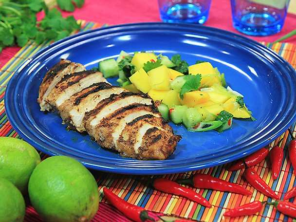 Jerk chicken med mangosalsa