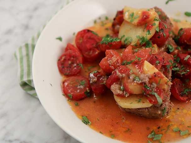 Kafta med potatis och tomat - Kebab i långpanna