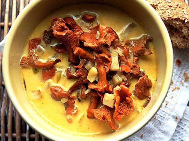 Kantarellsoppa med curryäpplen