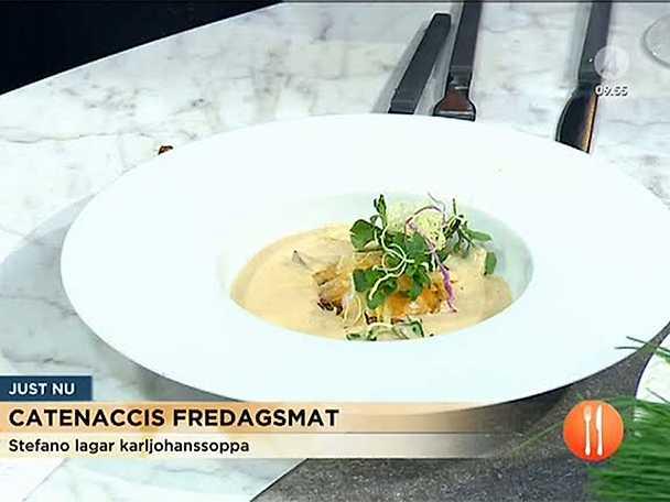Karl-Johansvampsoppa med 63 graders ägg och potatiskrisp