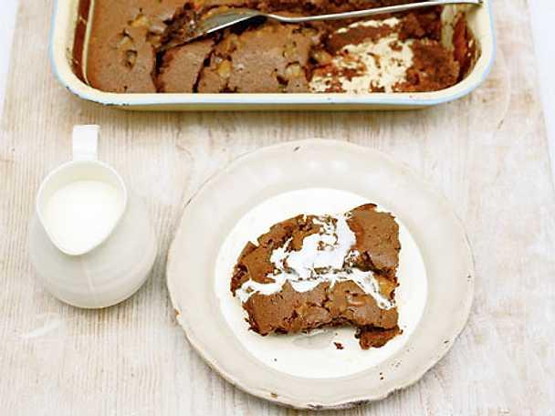 Kladdig choklad- och fudgekaka
