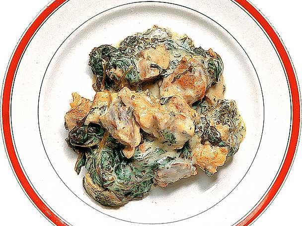 Kokt lamm med spenatsås