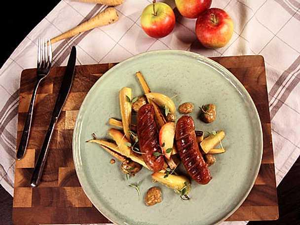 Korv med äpple och hemgjord calvadossenap
