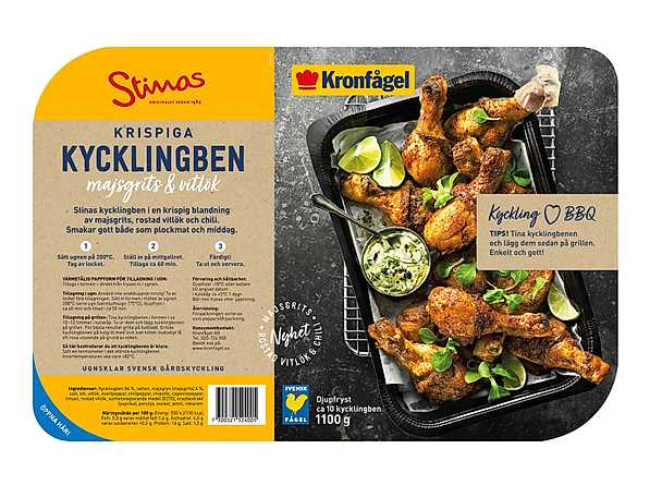 Kronfågel stinas kycklingben majsgrits vitlök produkt ny