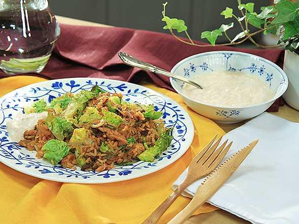 Kryddigt stekt ris med kyckling och dill