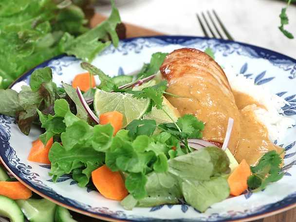 Kyckling i crunchy jordnötssås