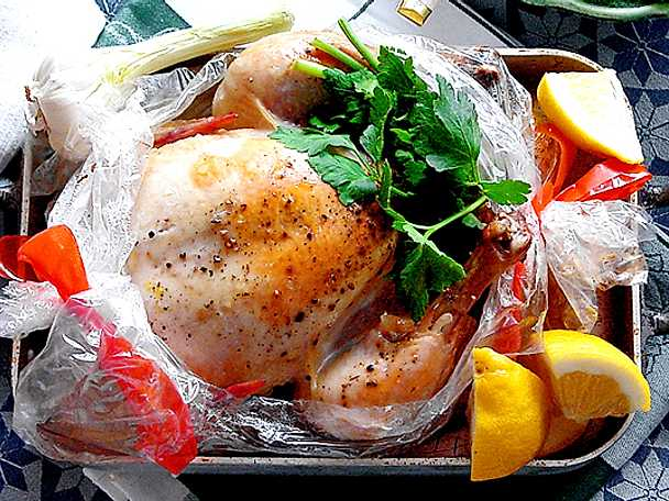 Kyckling i stekpåse med persilja och citron
