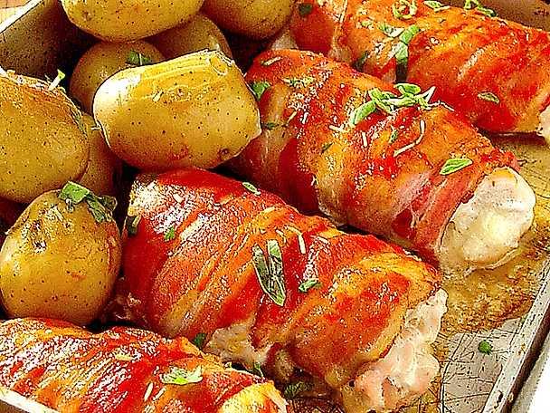 Kyckling- och baconrullar