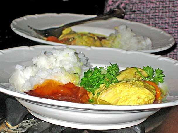 Kyckling, ris och curry