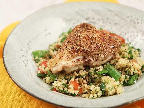 Kyckling zaatar med couscous och gröna bönor