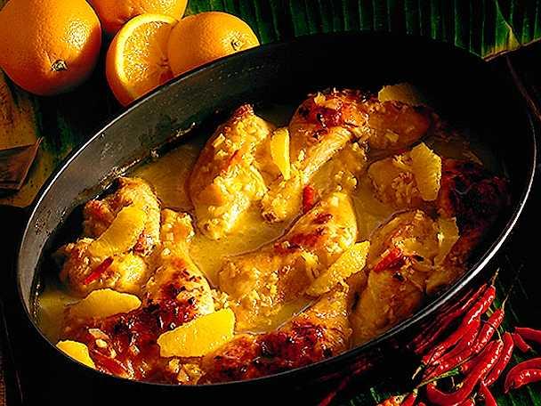 Kycklinggryta med apelsinfiléer och chili