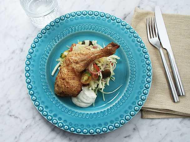 Kycklingklubba med grillad majssallad