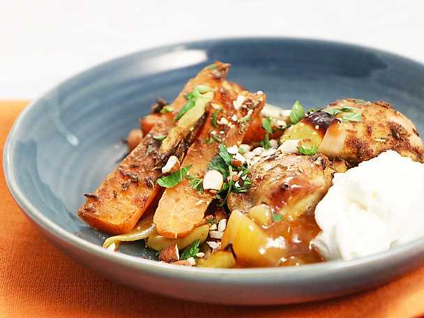 Kycklinglårfilé med currybakade morötter