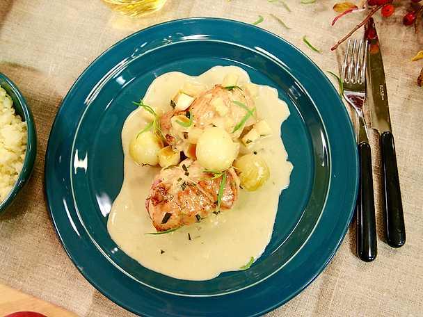 Kycklingrullader med cidersås och pressad potatis
