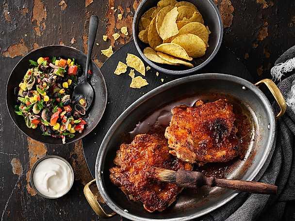 KycklingSteak med apelsin- och chipotleglaze och svart bönsallad