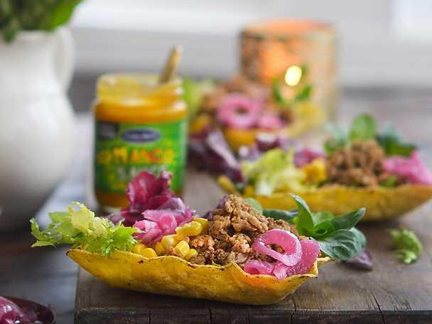 Kycklingtacos med mango papaya salsa