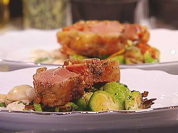 Lamm med chorizo, kantareller och vita bönor