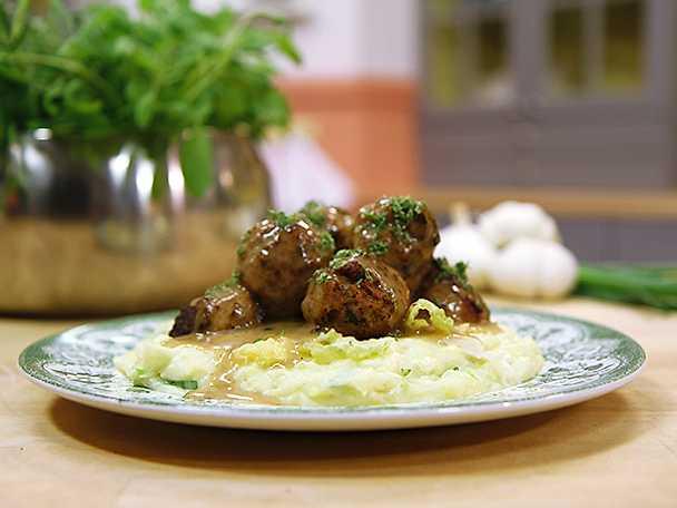 Lammköttbullar med irländskt potatis- och kålmos