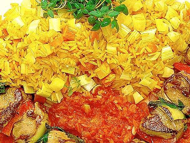 Lammspett med saffransris och grönsaksstrimlor