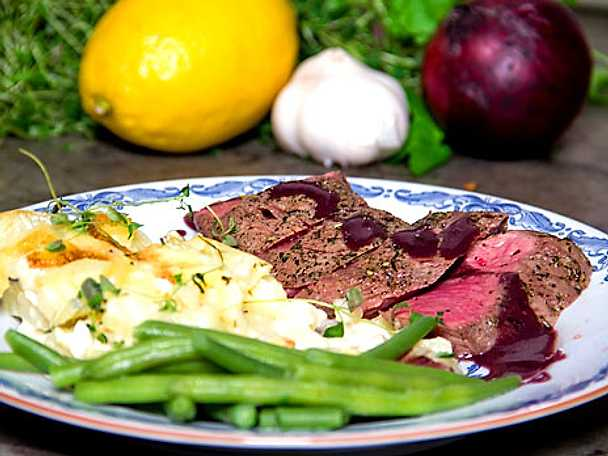 Lammytterfilé med chèvre- och potatisgratäng