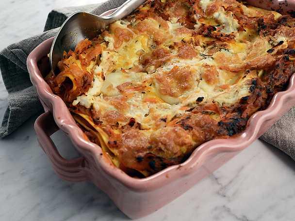 vegetarisk lasagne färska lasagneplattor