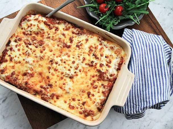 Lasagne på lammfärs och grillad aubergine