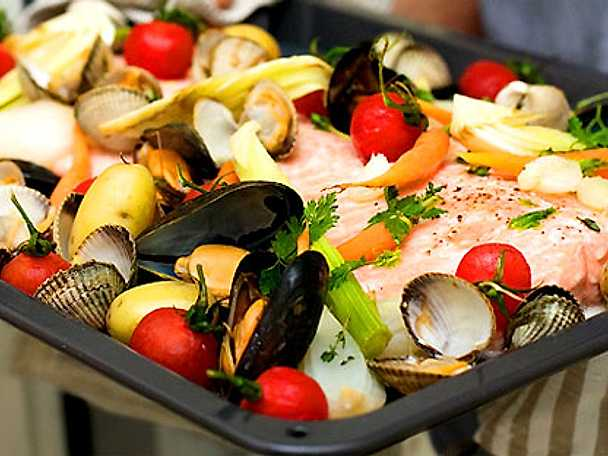 Lax med musslor