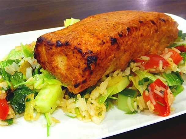 Lax tandoori med grönsaksris