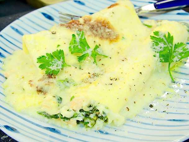 Laxcanelloni med spenat och ost