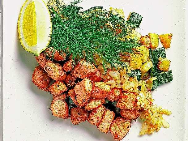 Laxpytt med zucchini