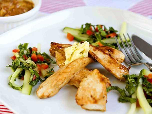 Limestekt kyckling med tandooripotatis