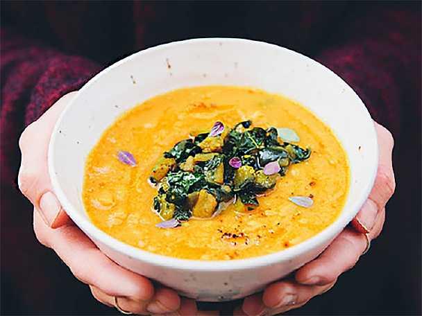Lins-, morot- och sötpotatissoppa