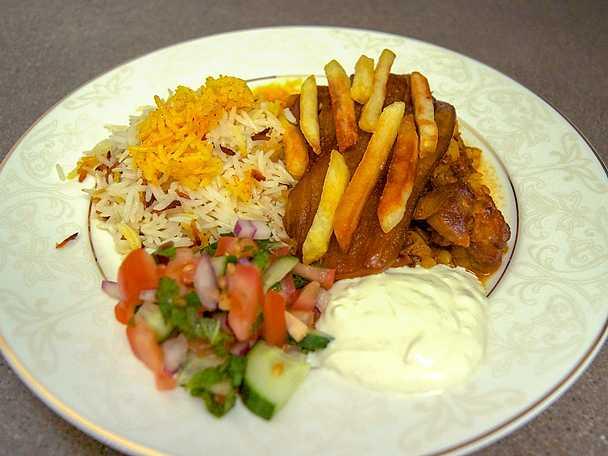 Linsgryta med lamm och persiskt ris