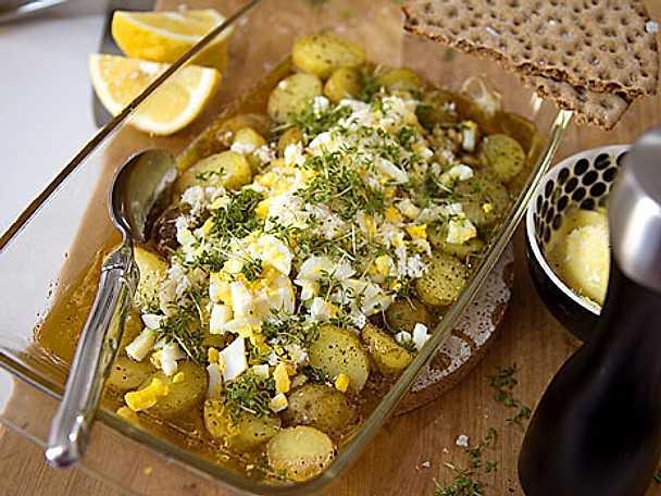 Ljummen matjes med pepparrot och brynt smör