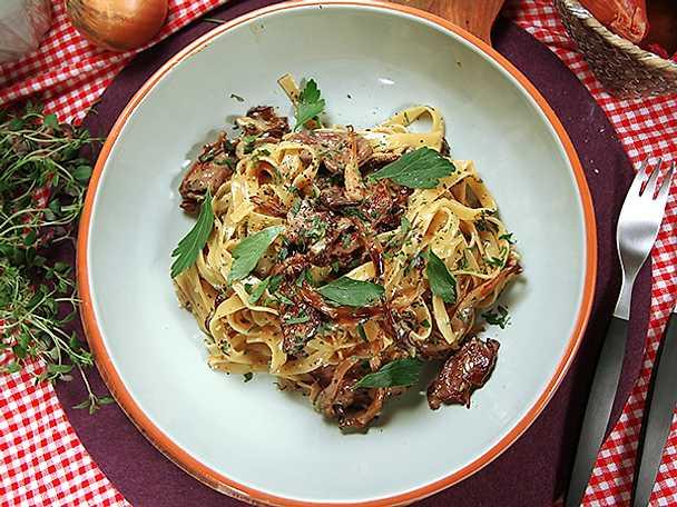 Lyxig pasta med oxfilé och svamp